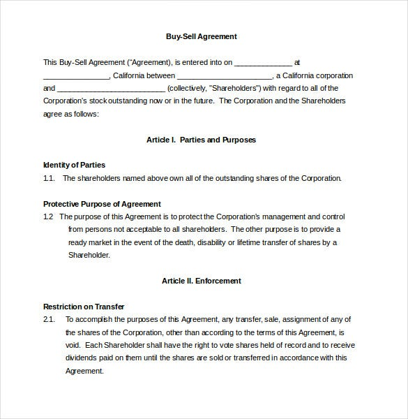 enforcement buy sell agreement template