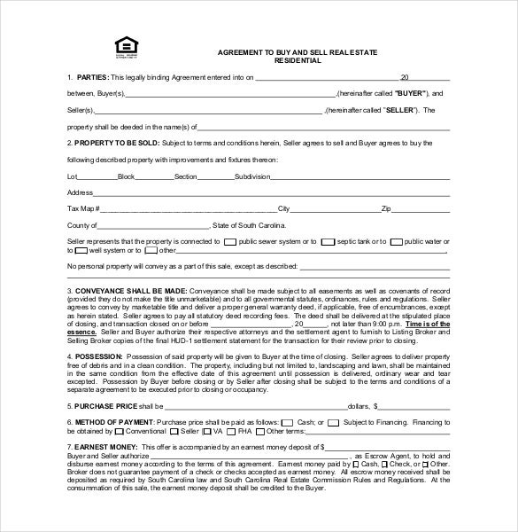 12 Buy Sell Agreement Templates Free Sample Example Format – Real Estate Contract Template