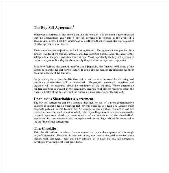 12 Buy Sell Agreement Templates Free Sample Example Format – Sale of Business Agreement