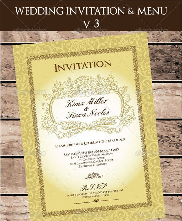 wedding invitation menu cards ai illustrator template download