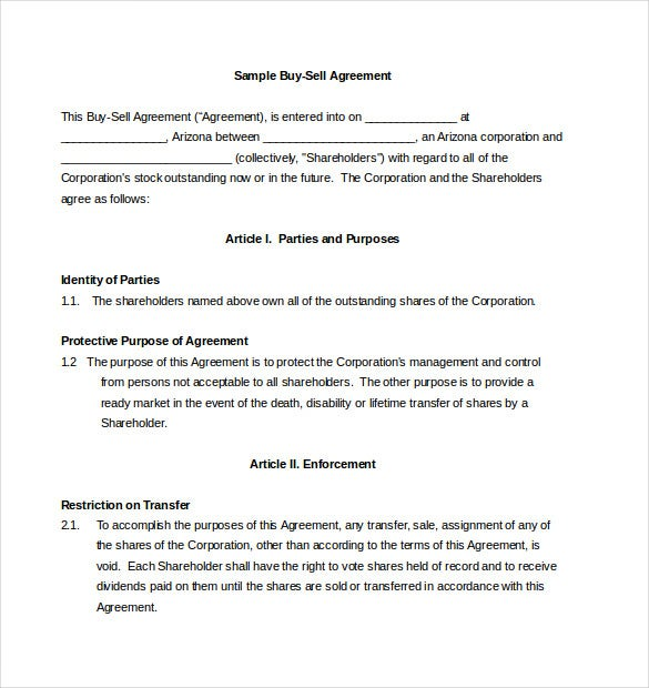 Sample Buy Sell Agreement Template Free Download