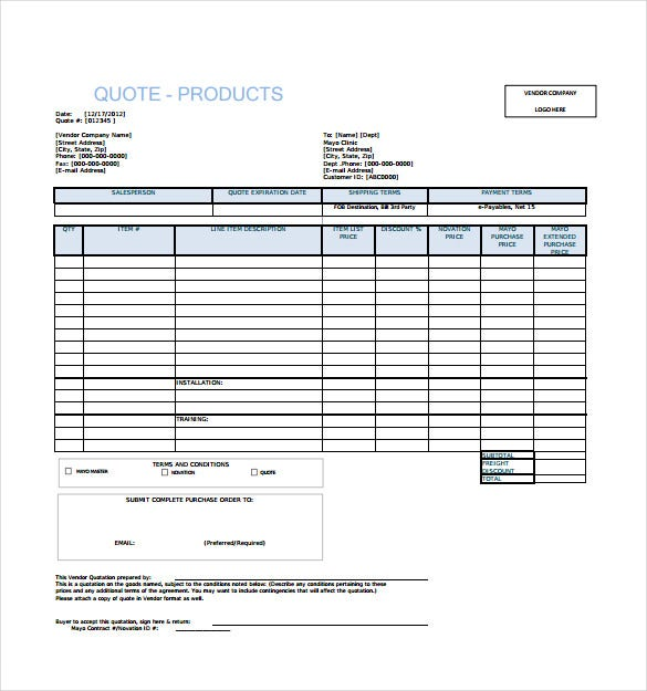 Doc460595 Sample for Quotation Price Quotation Format – Free Download Quotation Template
