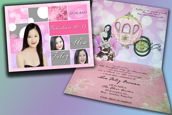 mia feliz princess popup debut invitation