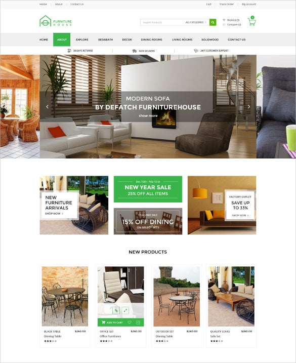 Furniture Web Sites: 20+ Furniture PHP Themes & Templates