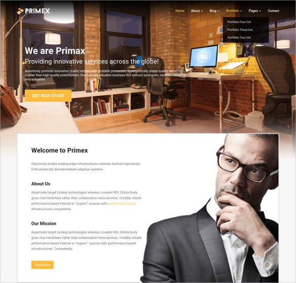 one page business furniture php template