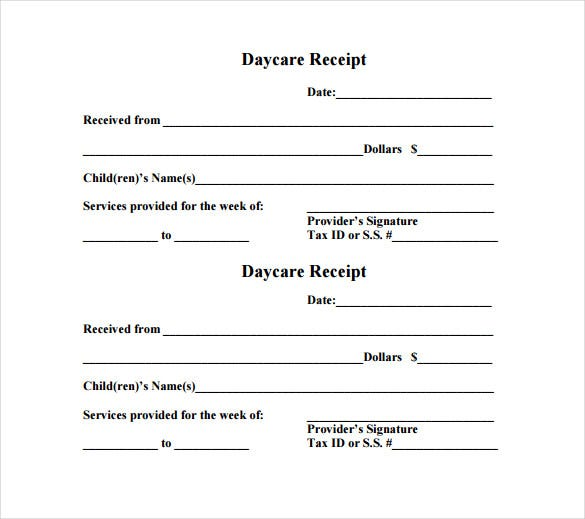 Daycare Receipt Template 12 Free Word Excel PDF Format – Free Receipt