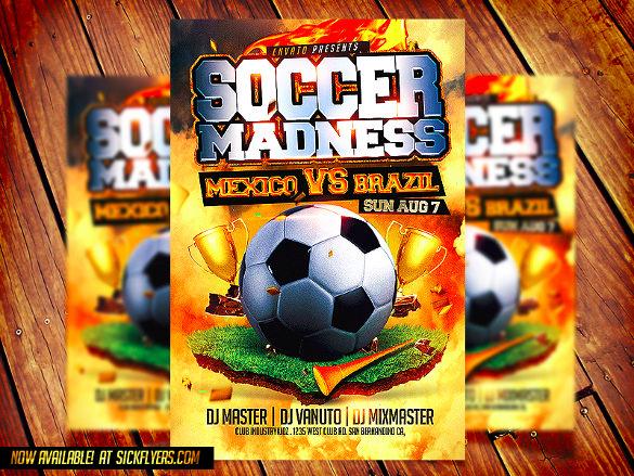 mexico vs brazil soccer flyer template
