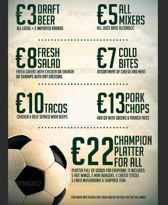 soccer sports bar promotion flyer template