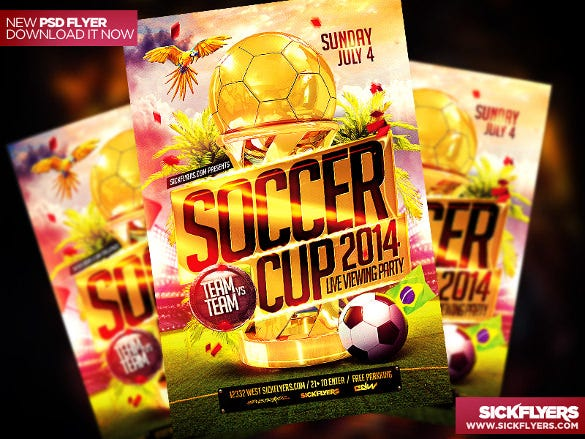 soccer cup psd flyer template