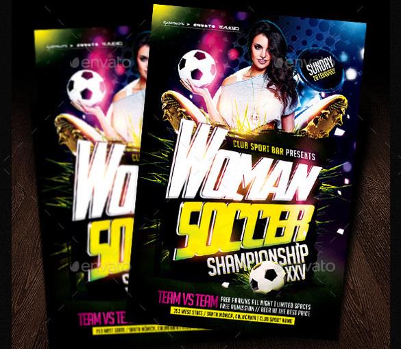 cmyk color women soccer flyer template