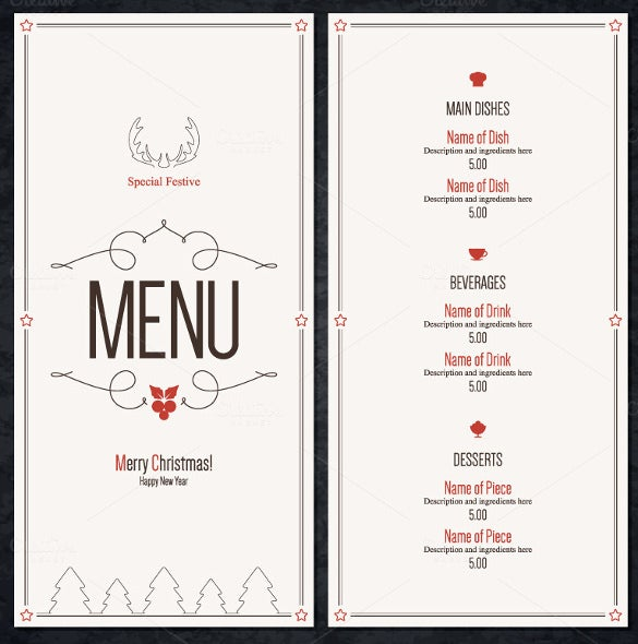 Exceptional Special Christmas Festive Menu Template Download  Christmas Menu Word Template