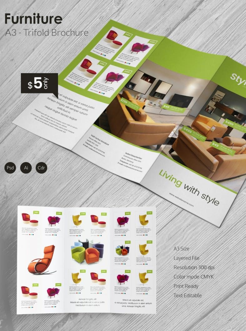 Excellent Furniture A3 Tri Fold Brochure Template | Free & Premium ...