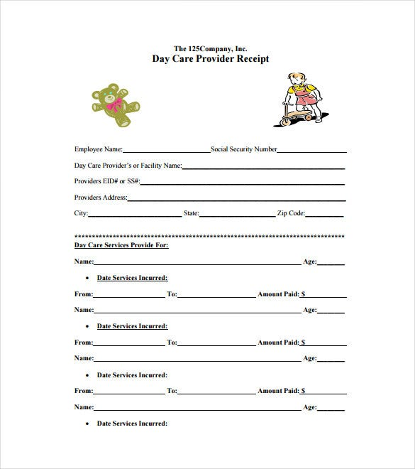 Daycare Receipt Template 12 Free Word Excel PDF Format – Free Printable Receipts for Services