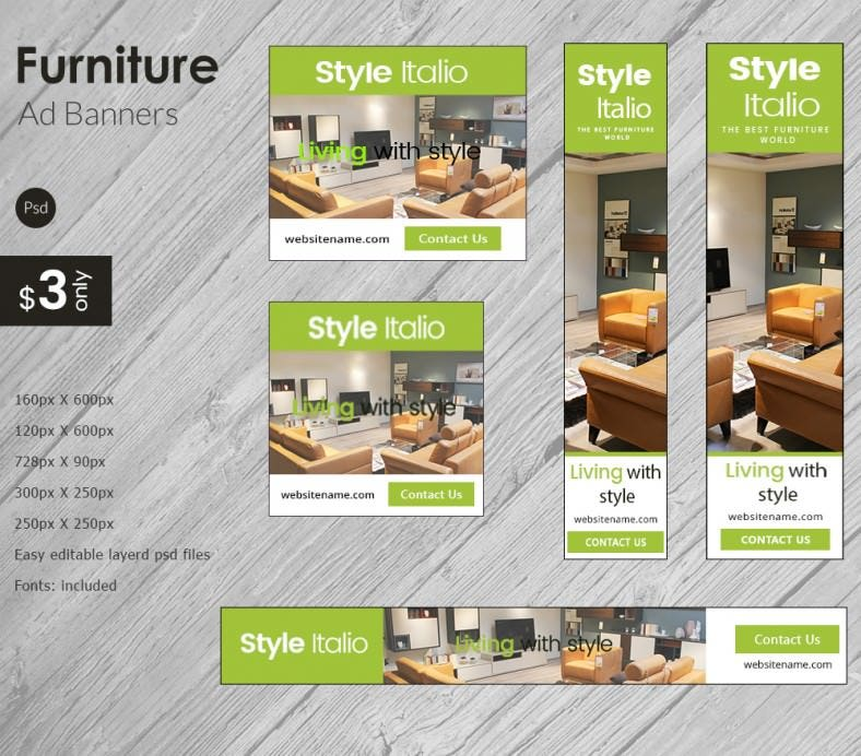 Furniture Store Ads: Modern Furniture Ad Banners - PSD, AI, EPS Vector