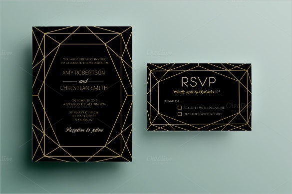 gem wedding invitation card template