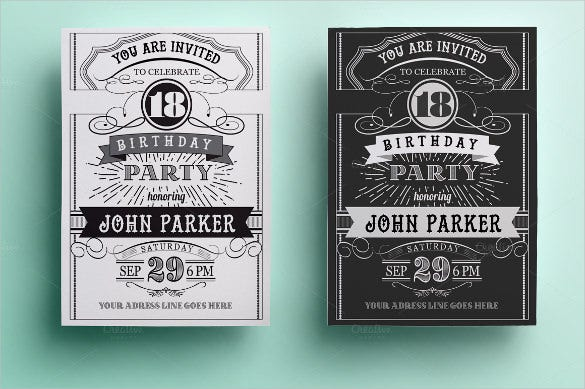 vintage birthday invitation card template