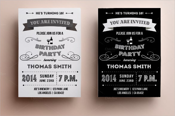retro birthday invitation card template
