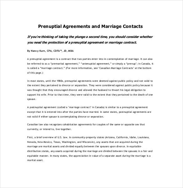 10 Prenuptial Agreement Templates – Free Sample Example