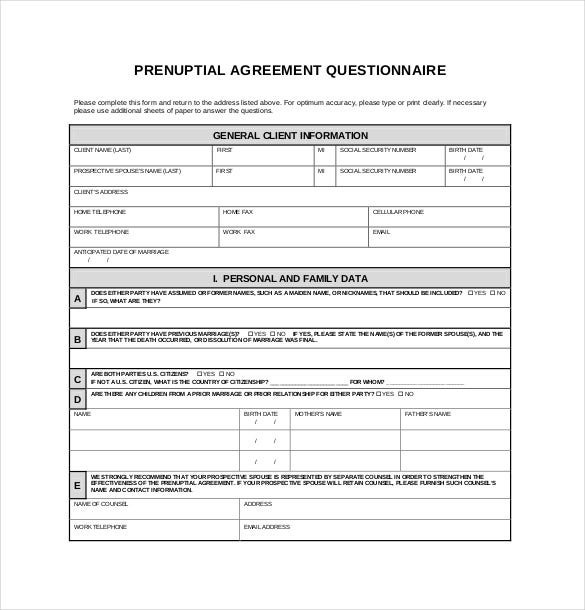 Prenuptial Agreement Templates  Free Sample Example Format
