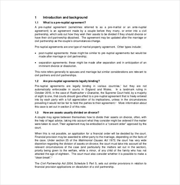 10 Prenuptial Agreement Templates Free Sample Example Format – Sample Cohabitation Agreement Template