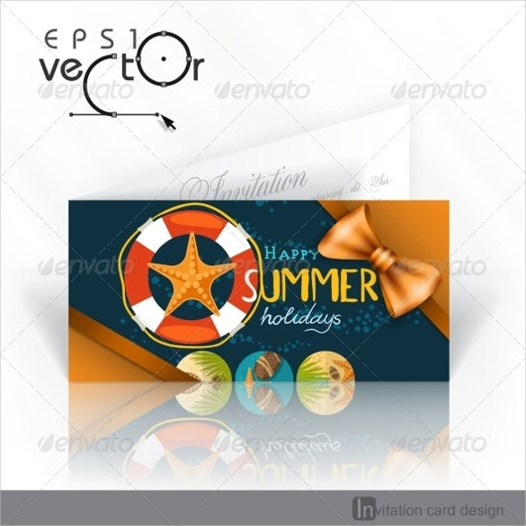 beach invitation card template