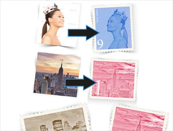 design retroo stamps template
