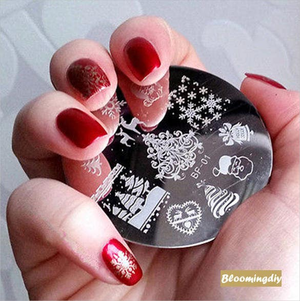 christmas nail printing stamp template