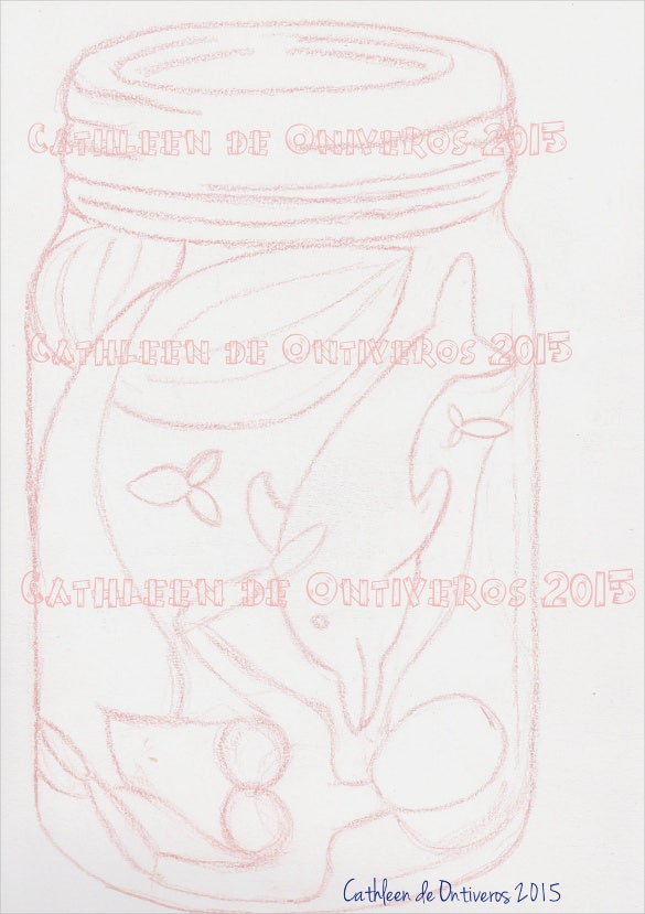 jar drawn digital stamp template