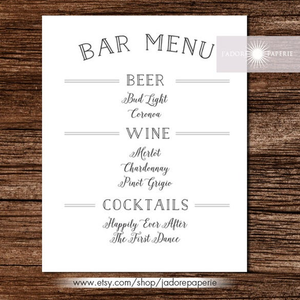 printable bar menu template download