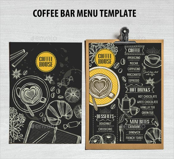 coffee bar menu template download