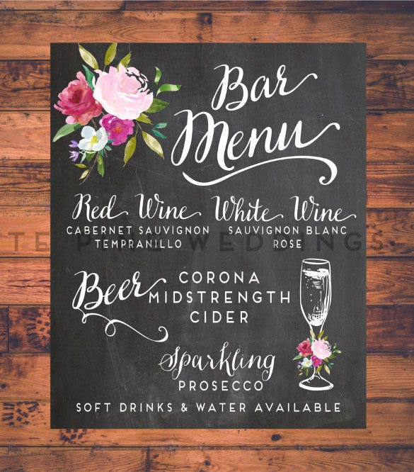 custom wedding bar menu template download