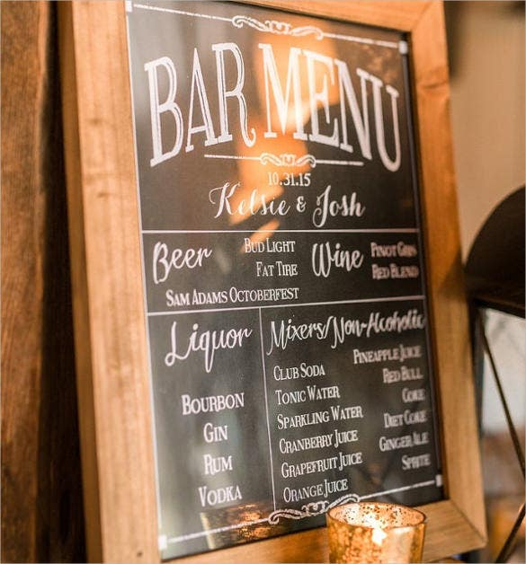 custom printable bar menu template download