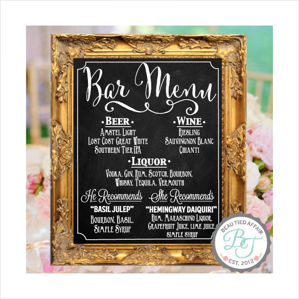 wedding chalkboard sign bar menu template download