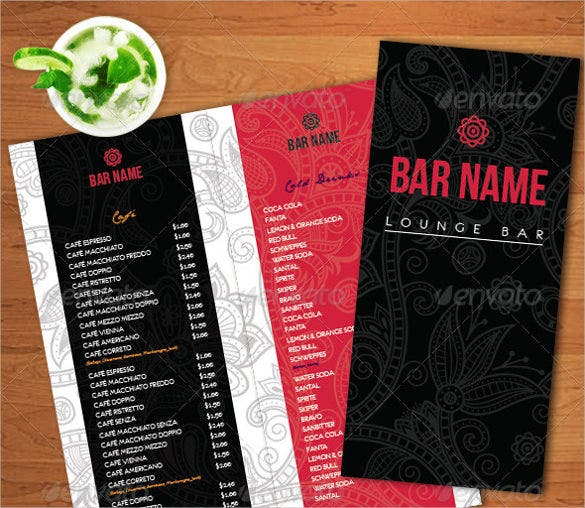 lounge bar menu template download