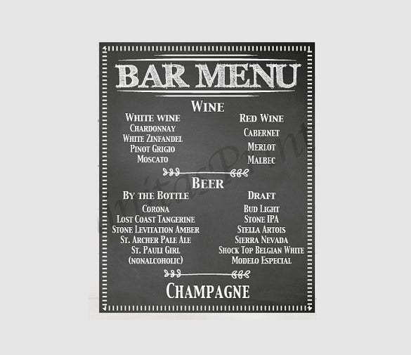 wedding bar menu sign template download