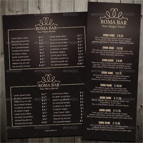 elegant bar menu template download