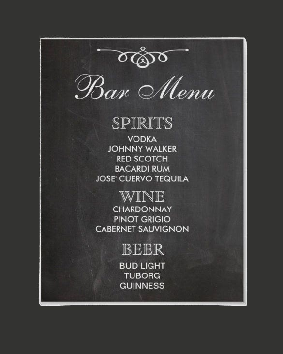 bar menu sign for wedding template download