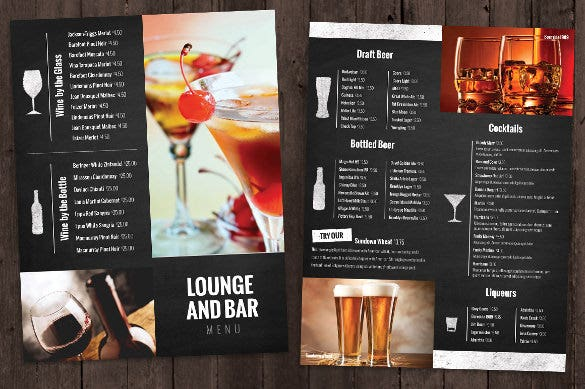 bar and lounge drink menu template download