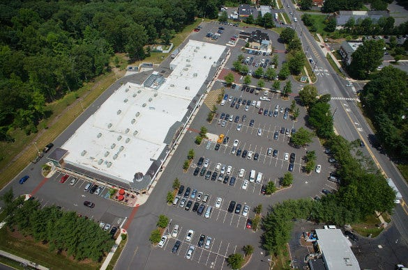 corporate parking aerial drone photograph