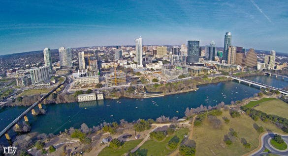 down town austin aerial north photography