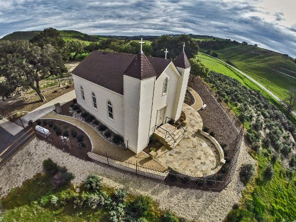 san ramon chapel aerial drone photography
