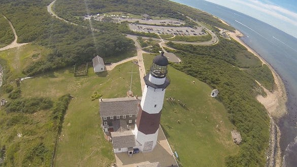 light house tower drone photo