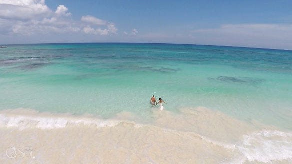 riviera maya sky blue beach attire drone photography