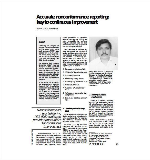 accurate nonconformance report pdf template free download