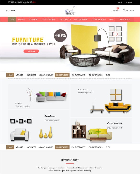 responsive magento furniture website theme