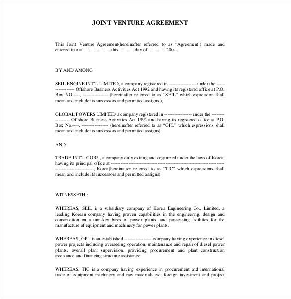 Joint Venture Agreement Templates  Free Sample Example