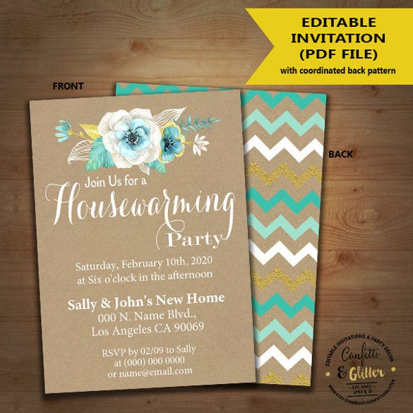 flower housewarming invitation template