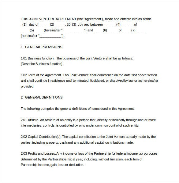 10 Joint Venture Agreement Templates Free Sample Example