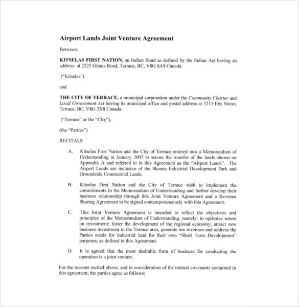 Free Sample Airport Lands Joint Venture Agreement Template