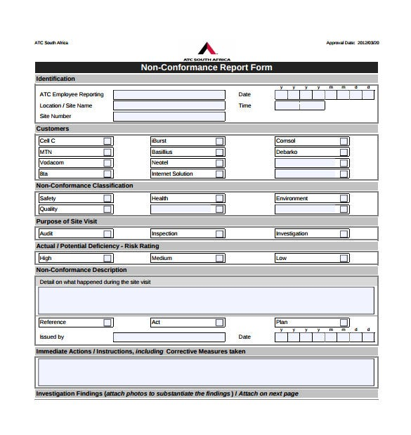 non conformance report form